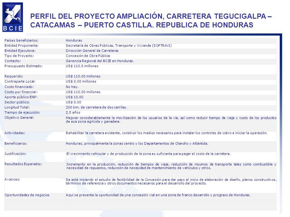 PERFIL DEL PROYECTO AMPLIACIÓN, CARRETERA TEGUCIGALPA – CATACAMAS – PUERTO CASTILLA. REPUBLICA DE HONDURAS