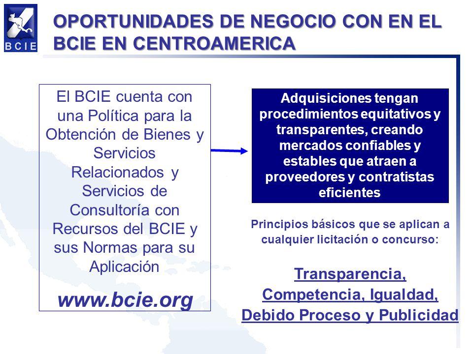 www.bcie.org OPORTUNIDADES DE NEGOCIO CON EN EL BCIE EN CENTROAMERICA