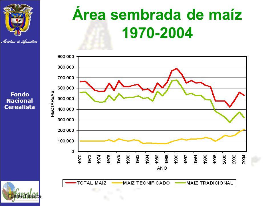 Área sembrada de maíz 1970-2004 Fuente: Fenalce