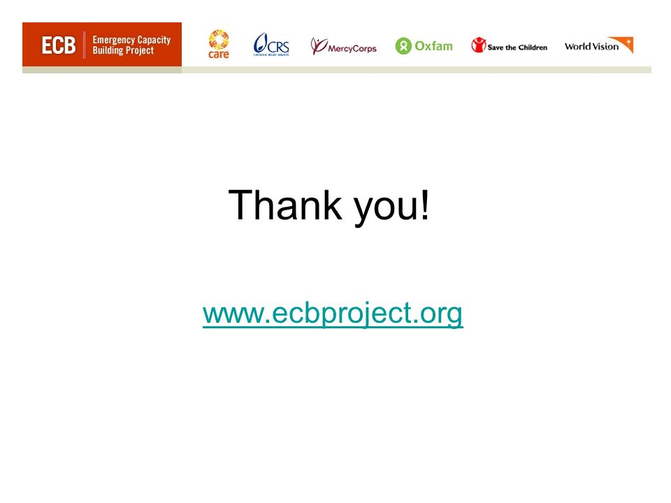 Thank you! www.ecbproject.org