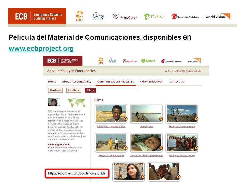 ECB Resources Pelicula del Material de Comunicaciones, disponibles en www.ecbproject.org