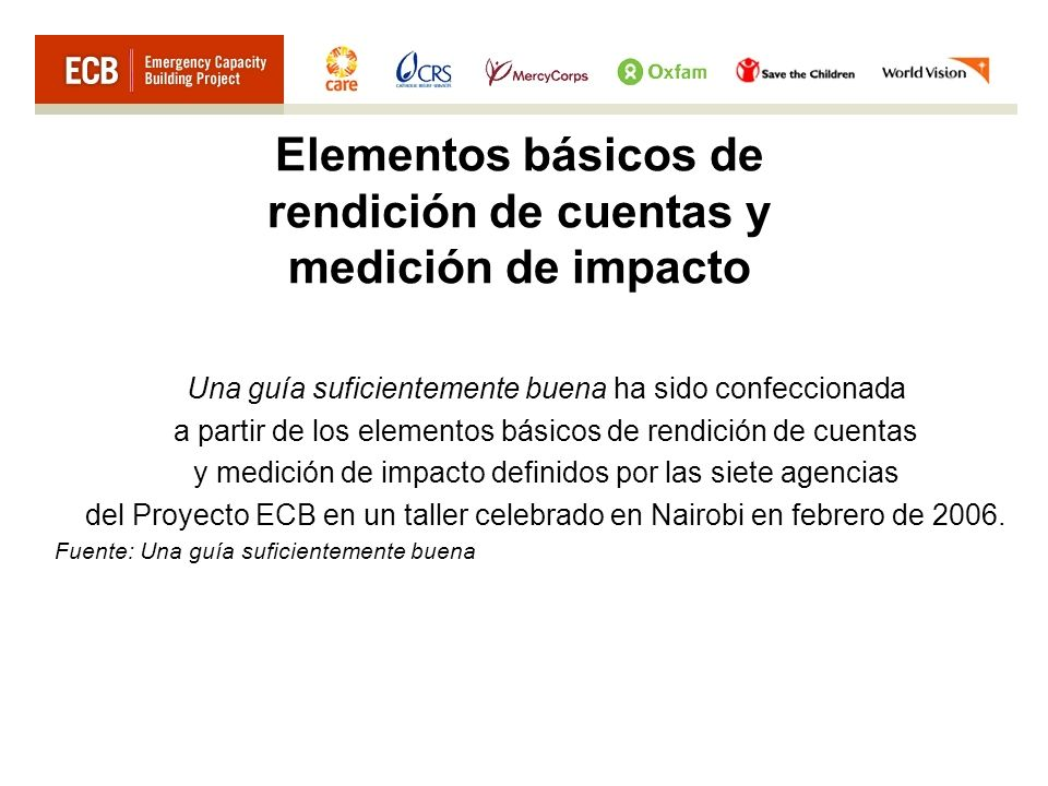 Elementos básicos de rendición de cuentas y medición de impacto