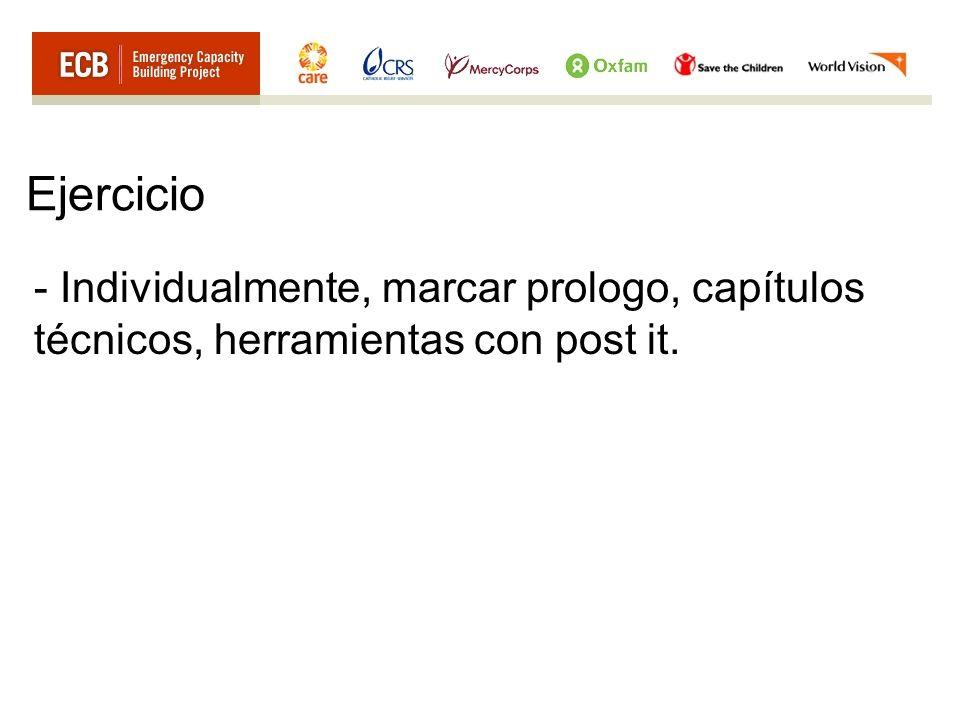Ejercicio Individualmente, marcar prologo, capítulos técnicos, herramientas con post it.
