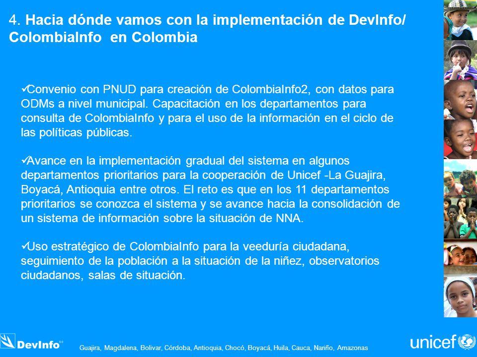 4. Hacia dónde vamos con la implementación de DevInfo/ ColombiaInfo en Colombia