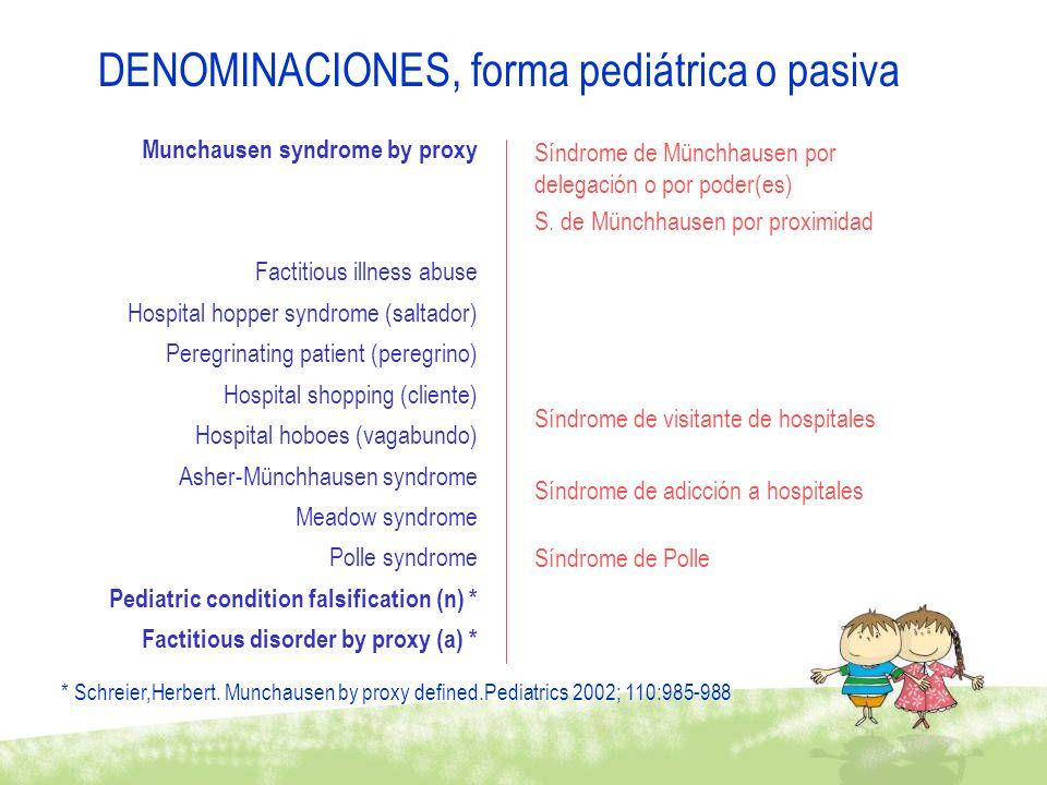 DENOMINACIONES, forma pediátrica o pasiva
