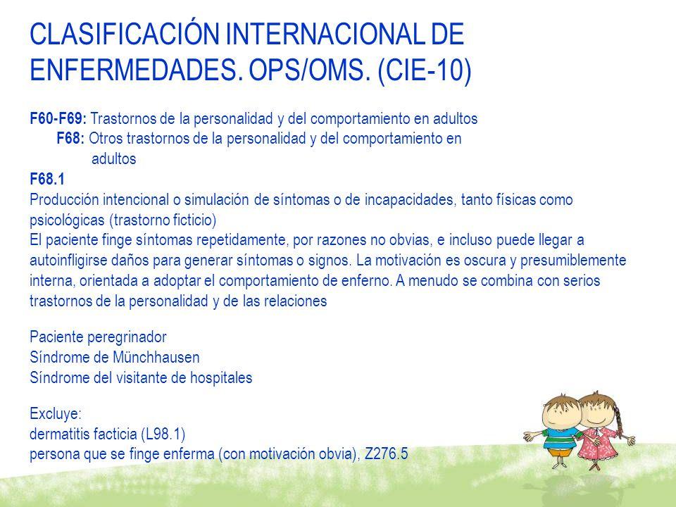 CLASIFICACIÓN INTERNACIONAL DE ENFERMEDADES. OPS/OMS. (CIE-10)