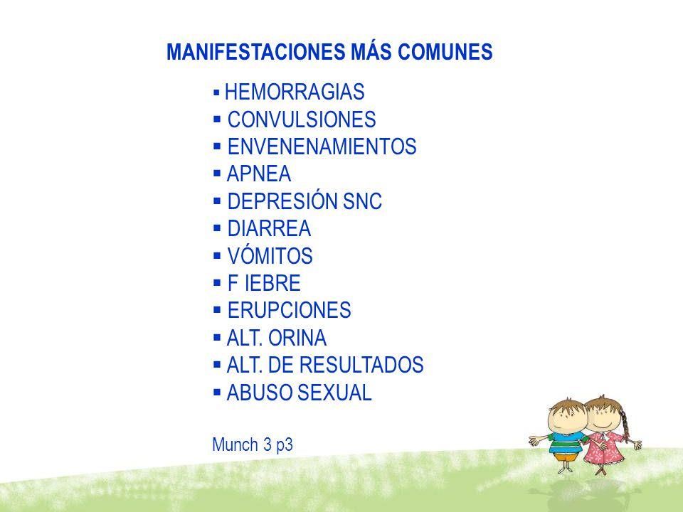 MANIFESTACIONES MÁS COMUNES