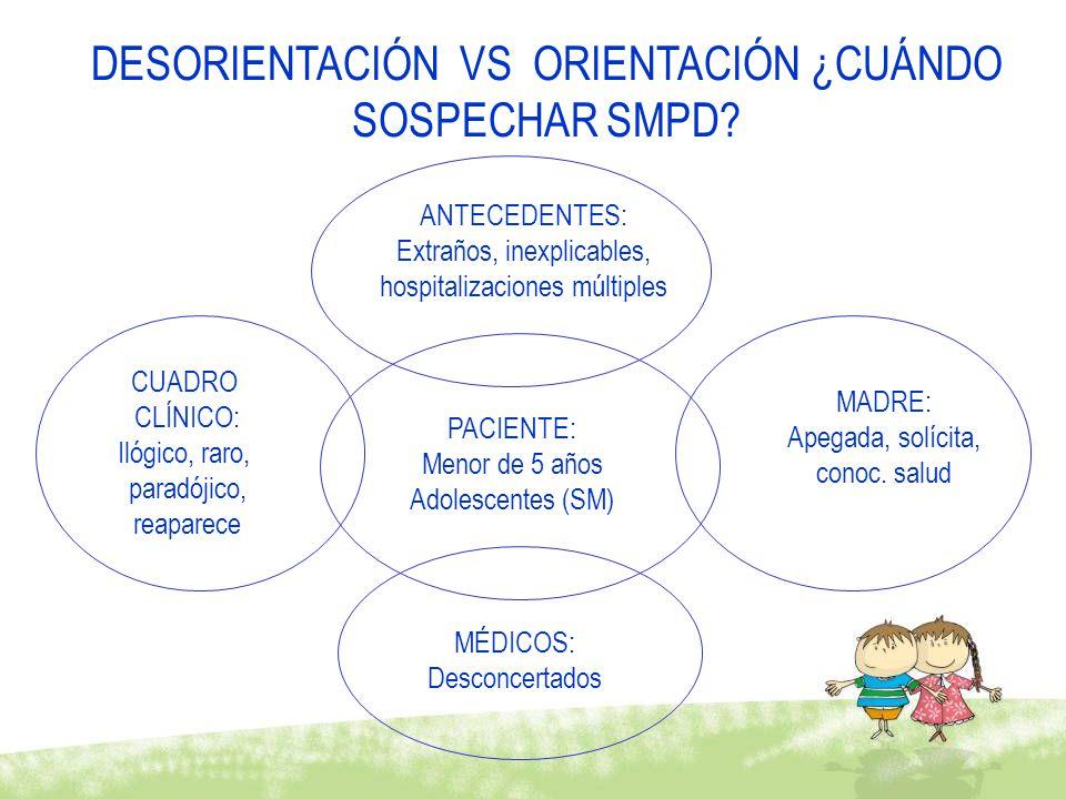 DESORIENTACIÓN VS ORIENTACIÓN ¿CUÁNDO SOSPECHAR SMPD