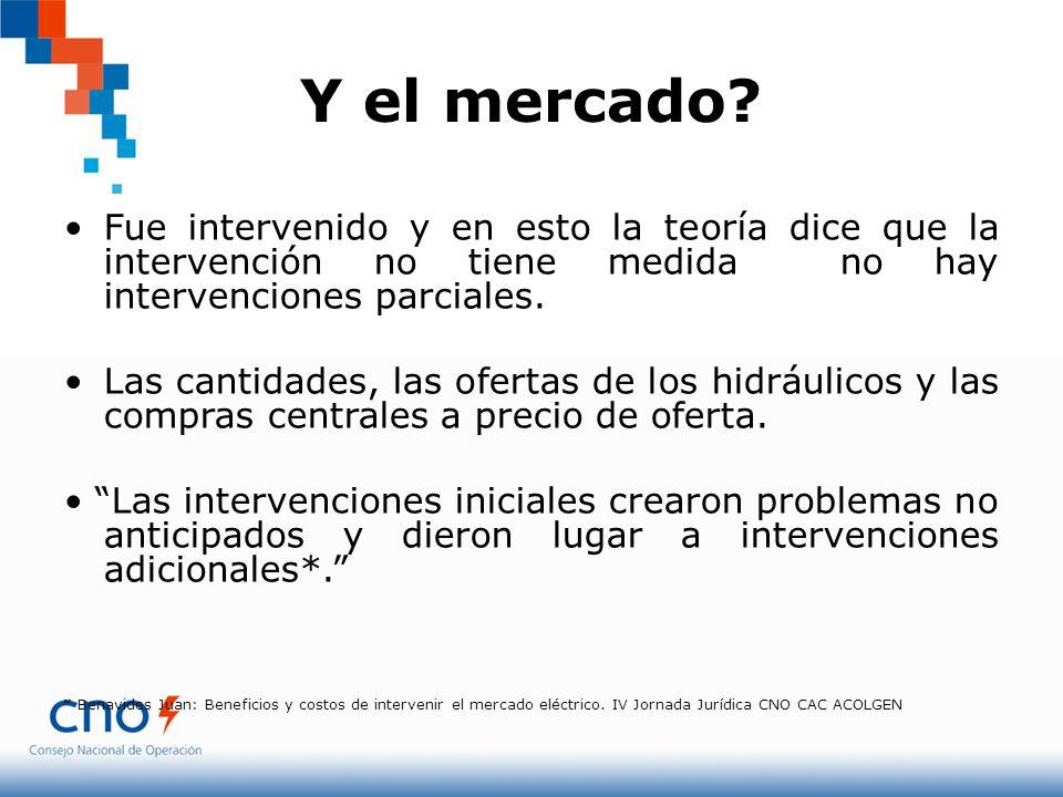 Y el mercado Fue intervenido y en esto la teoría dice que la intervención no tiene medida no hay intervenciones parciales.