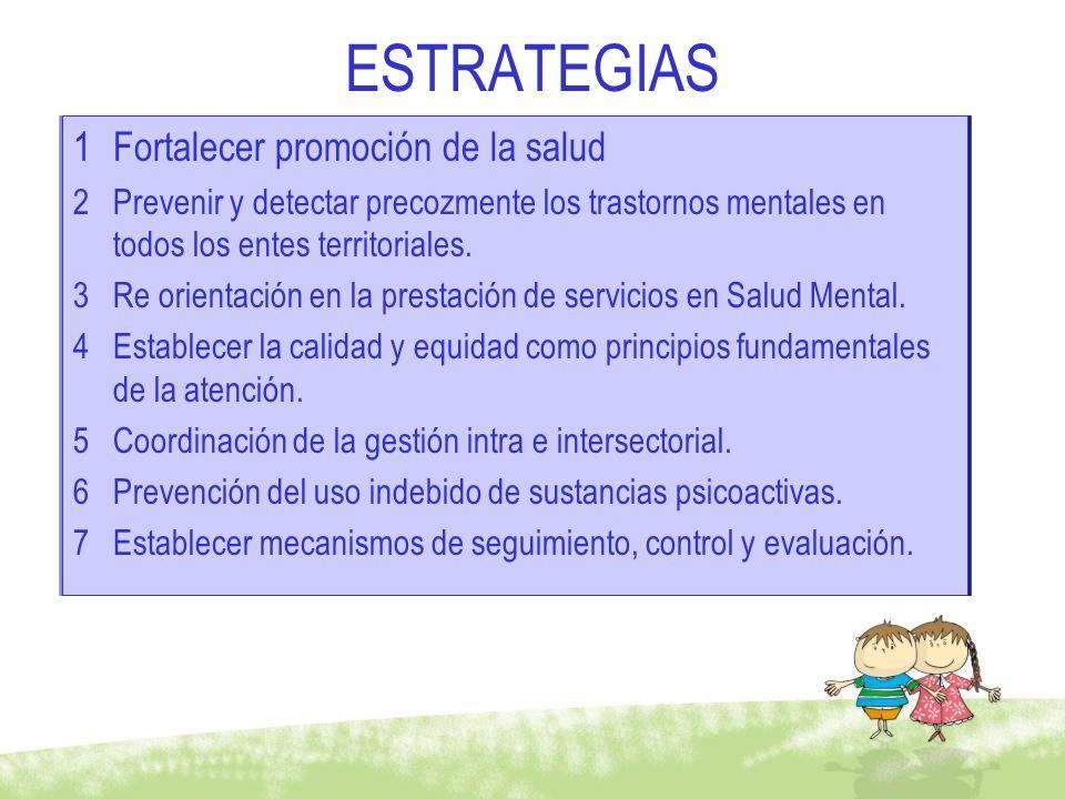 ESTRATEGIAS Fortalecer promoción de la salud