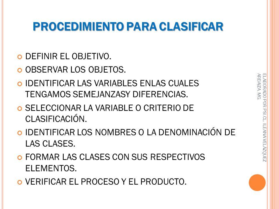 PROCEDIMIENTO PARA CLASIFICAR