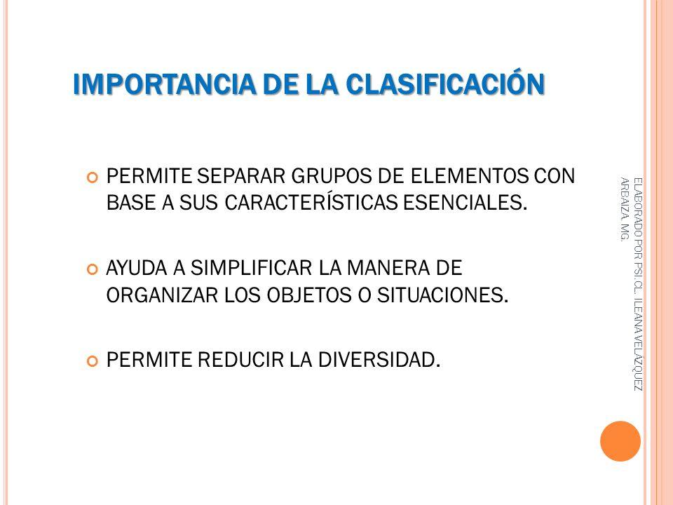 IMPORTANCIA DE LA CLASIFICACIÓN