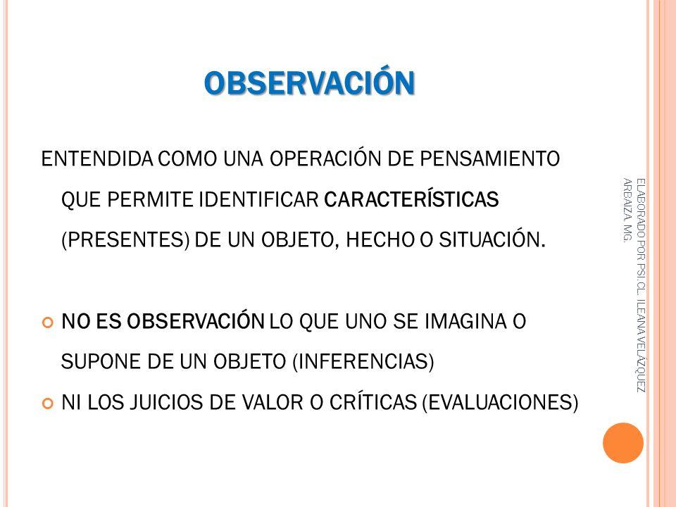 OBSERVACIÓN ENTENDIDA COMO UNA OPERACIÓN DE PENSAMIENTO QUE PERMITE IDENTIFICAR CARACTERÍSTICAS (PRESENTES) DE UN OBJETO, HECHO O SITUACIÓN.