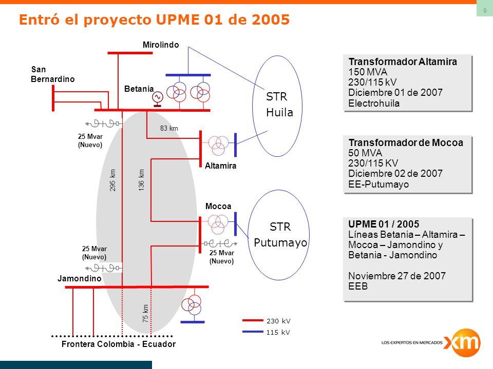 Entró el proyecto UPME 01 de 2005