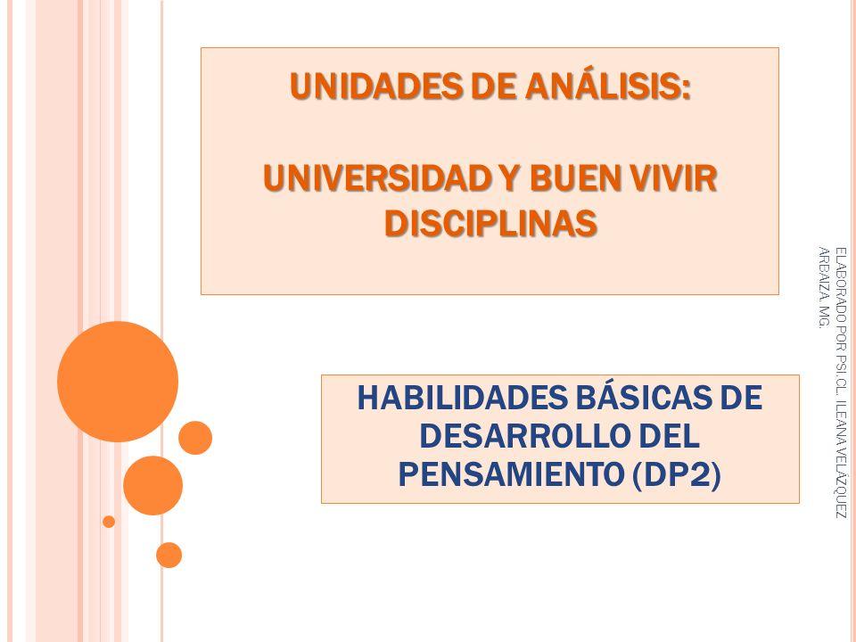 UNIDADES DE ANÁLISIS: UNIVERSIDAD Y BUEN VIVIR DISCIPLINAS