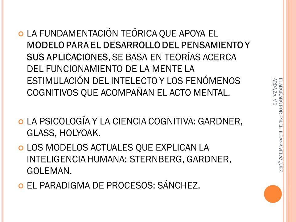 LA PSICOLOGÍA Y LA CIENCIA COGNITIVA: GARDNER, GLASS, HOLYOAK.
