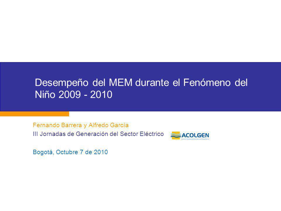 Desempeño del MEM durante el Fenómeno del Niño 2009 - 2010
