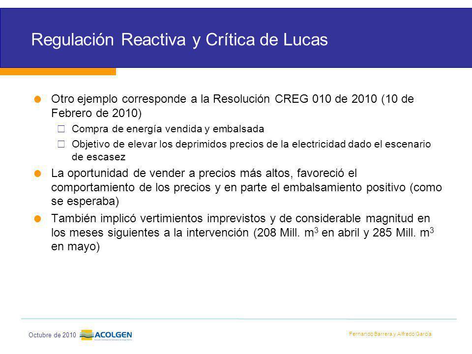 Regulación Reactiva y Crítica de Lucas