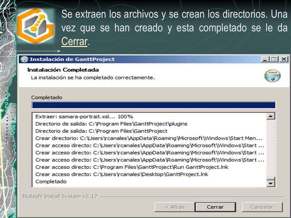 Se extraen los archivos y se crean los directorios