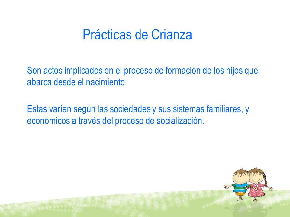 Prácticas de Crianza Son actos implicados en el proceso de formación de los hijos que abarca desde el nacimiento.