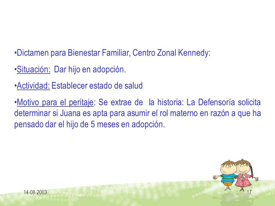 Dictamen para Bienestar Familiar, Centro Zonal Kennedy: