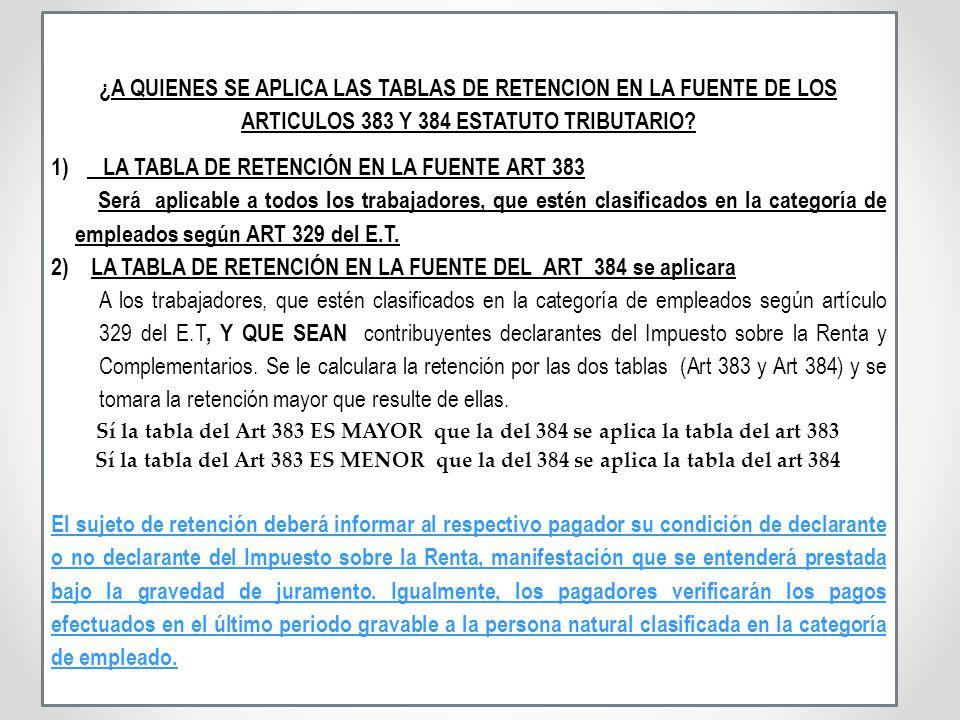 LA TABLA DE RETENCIÓN EN LA FUENTE ART 383