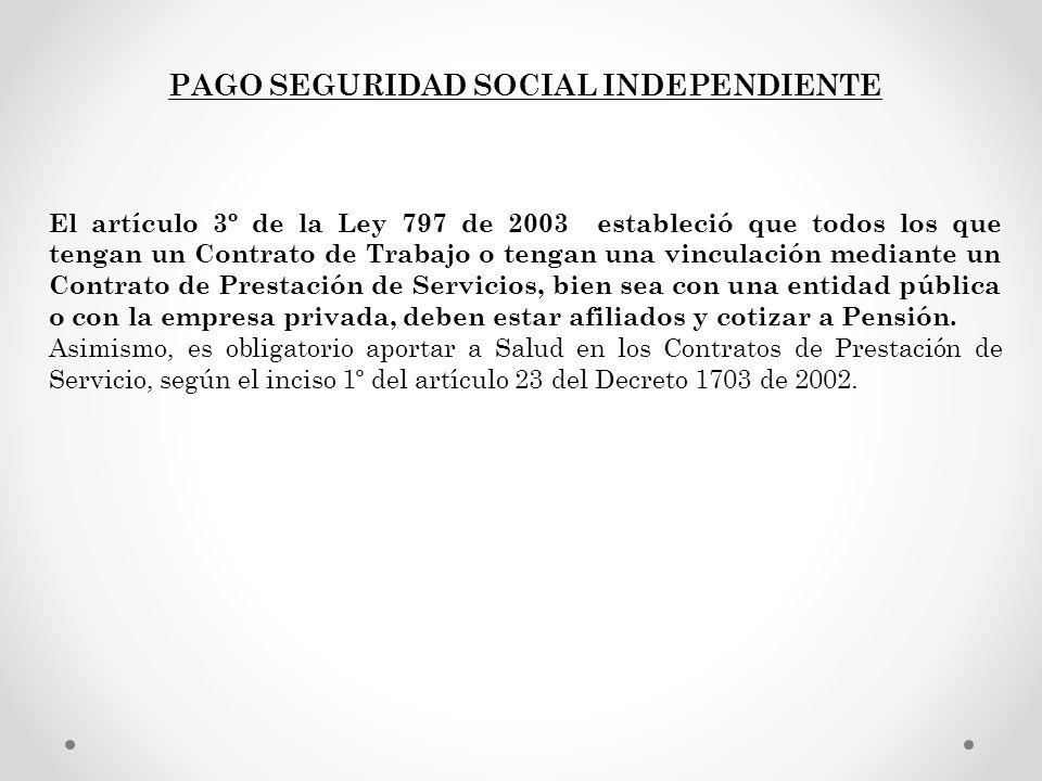 PAGO SEGURIDAD SOCIAL INDEPENDIENTE