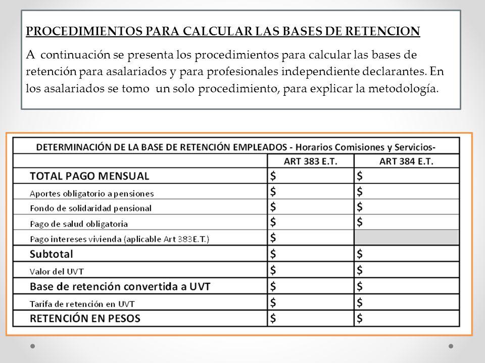 PROCEDIMIENTOS PARA CALCULAR LAS BASES DE RETENCION