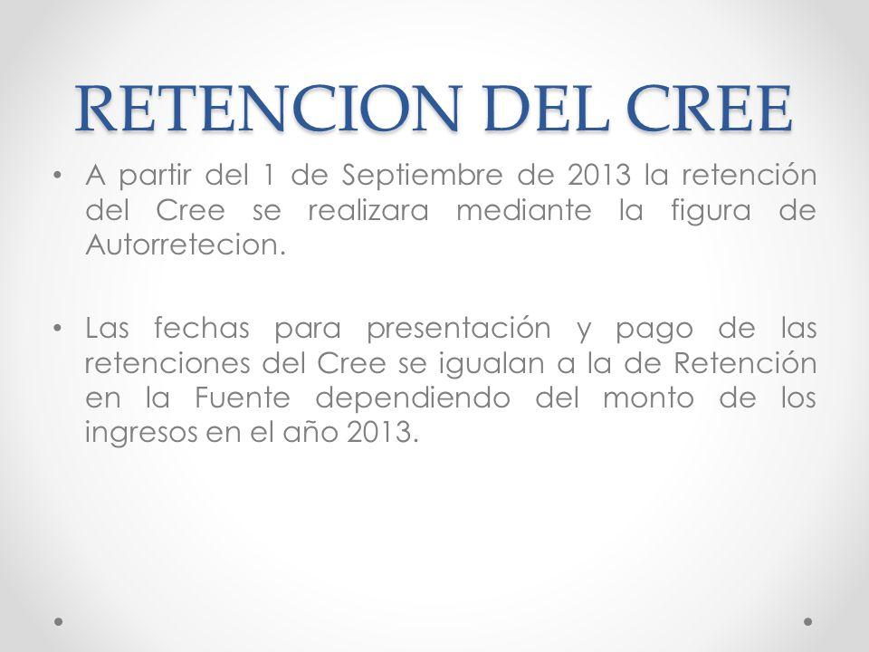 RETENCION DEL CREE A partir del 1 de Septiembre de 2013 la retención del Cree se realizara mediante la figura de Autorretecion.