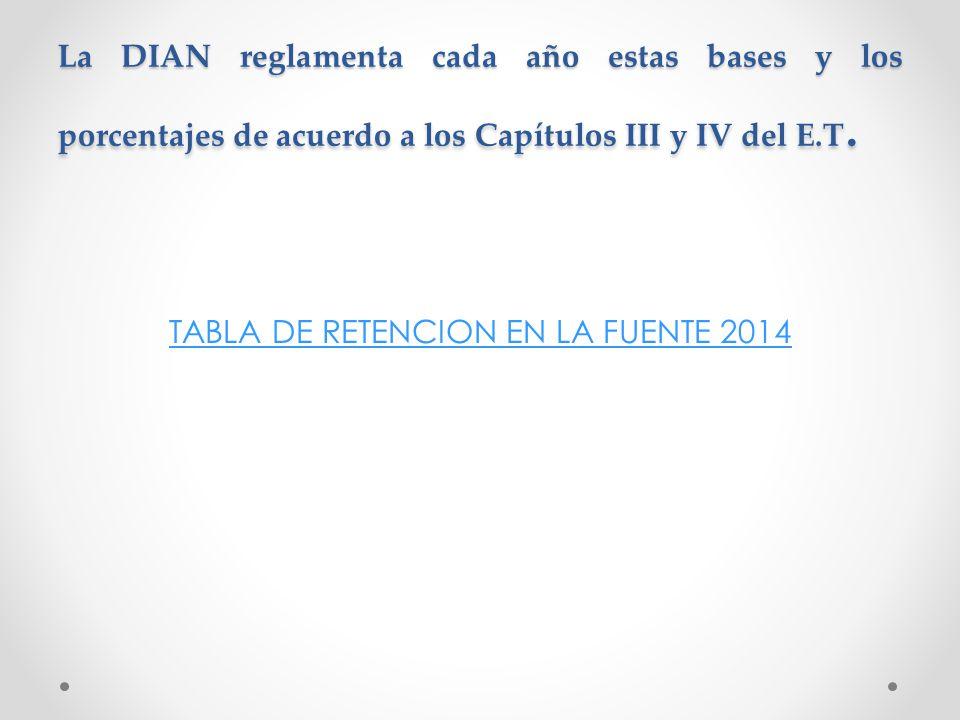 TABLA DE RETENCION EN LA FUENTE 2014