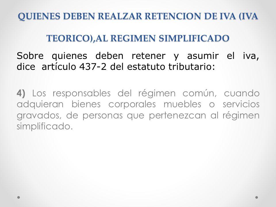 QUIENES DEBEN REALZAR RETENCION DE IVA (IVA TEORICO),AL REGIMEN SIMPLIFICADO