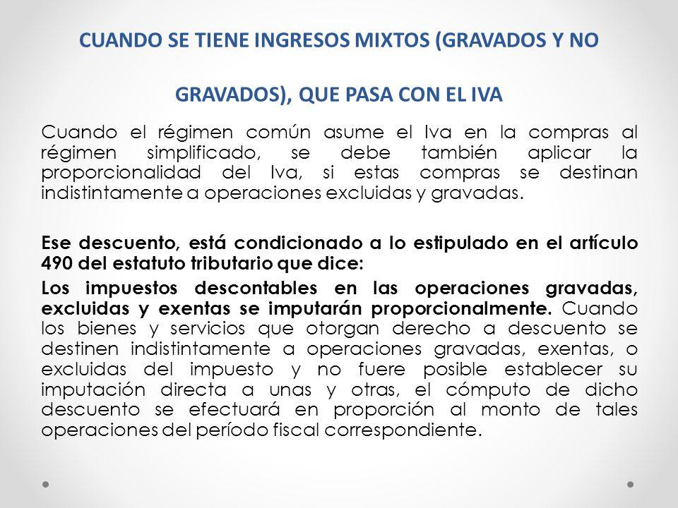 CUANDO SE TIENE INGRESOS MIXTOS (GRAVADOS Y NO GRAVADOS), QUE PASA CON EL IVA