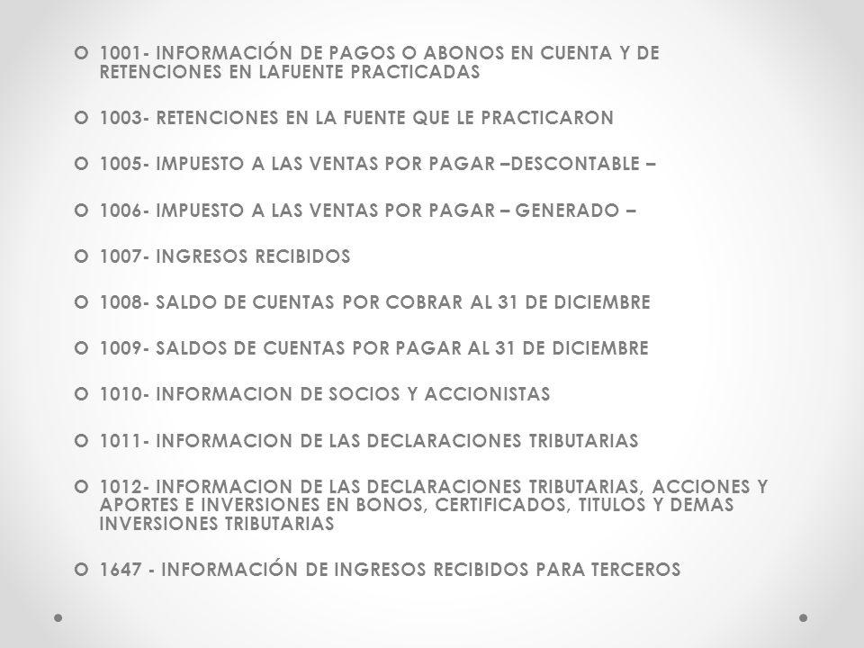 1001- INFORMACIÓN DE PAGOS O ABONOS EN CUENTA Y DE RETENCIONES EN LAFUENTE PRACTICADAS