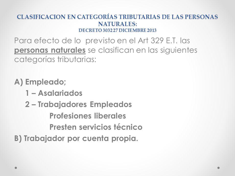 CLASIFICACION EN CATEGORÍAS TRIBUTARIAS DE LAS PERSONAS NATURALES: DECRETO 3032 27 DICIEMBRE 2013