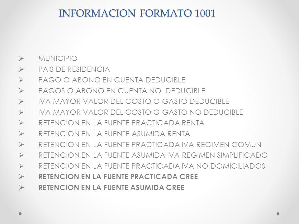 INFORMACION FORMATO 1001 MUNICIPIO PAIS DE RESIDENCIA