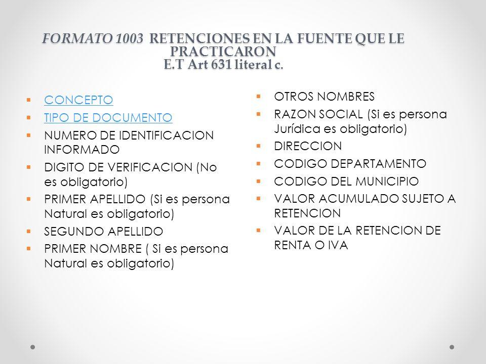 FORMATO 1003 RETENCIONES EN LA FUENTE QUE LE PRACTICARON E