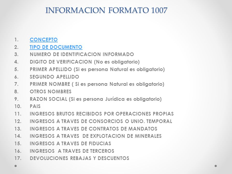 INFORMACION FORMATO 1007 CONCEPTO TIPO DE DOCUMENTO