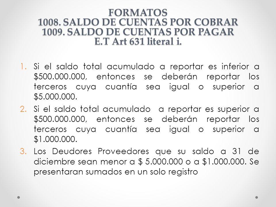 FORMATOS 1008. SALDO DE CUENTAS POR COBRAR 1009
