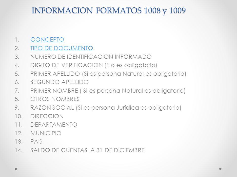 INFORMACION FORMATOS 1008 y 1009