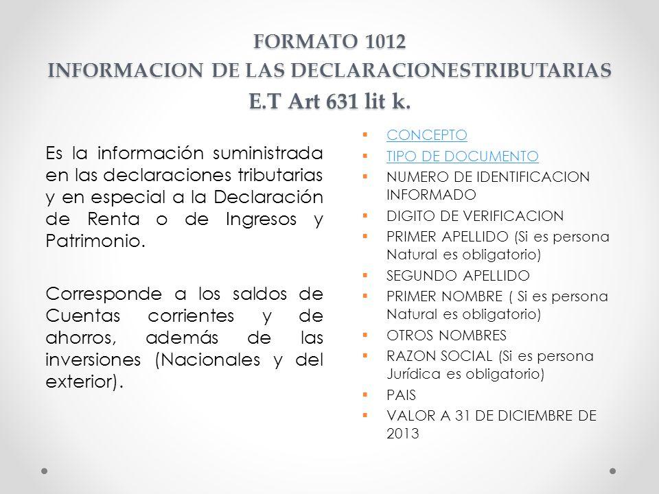 FORMATO 1012 INFORMACION DE LAS DECLARACIONESTRIBUTARIAS E