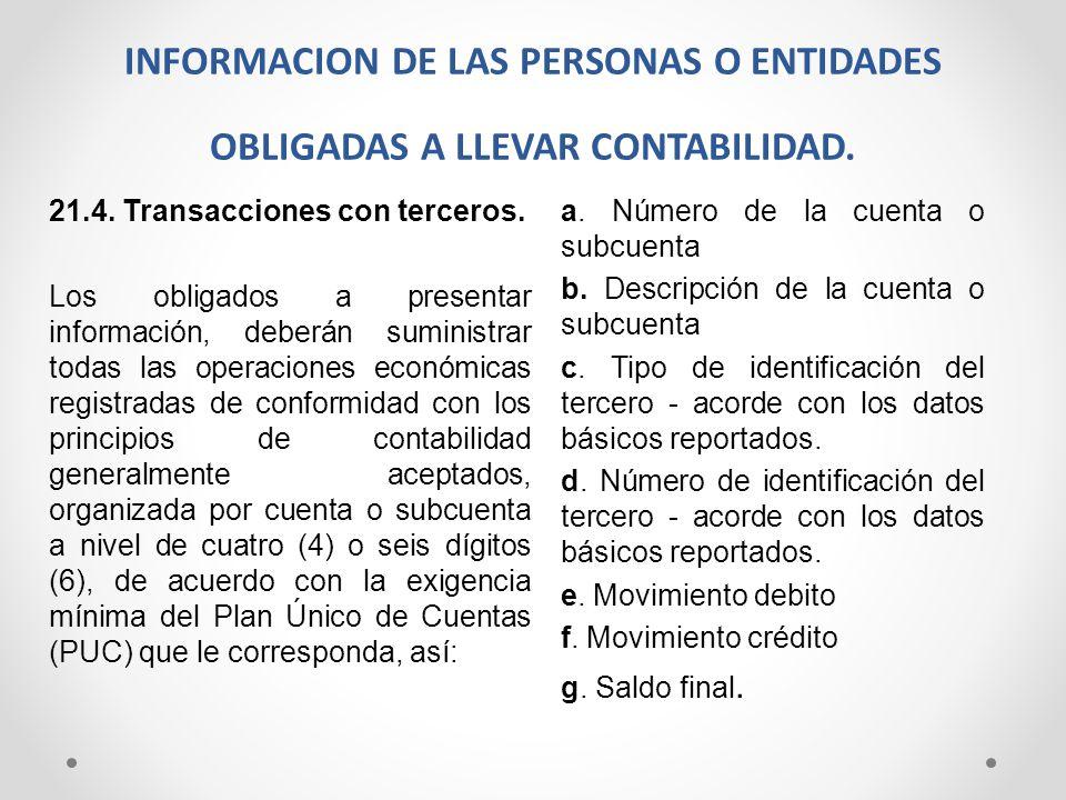 INFORMACION DE LAS PERSONAS O ENTIDADES OBLIGADAS A LLEVAR CONTABILIDAD.