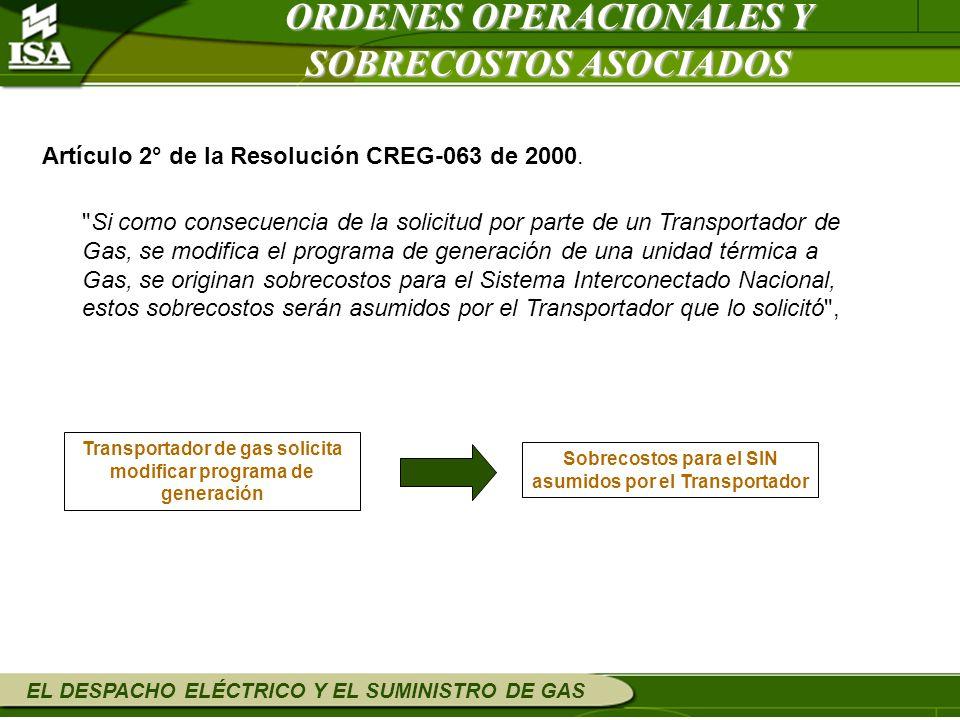 ORDENES OPERACIONALES Y SOBRECOSTOS ASOCIADOS