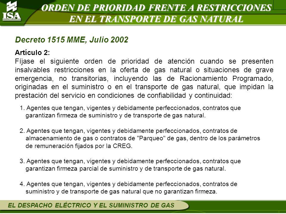 ORDEN DE PRIORIDAD FRENTE A RESTRICCIONES EN EL TRANSPORTE DE GAS NATURAL