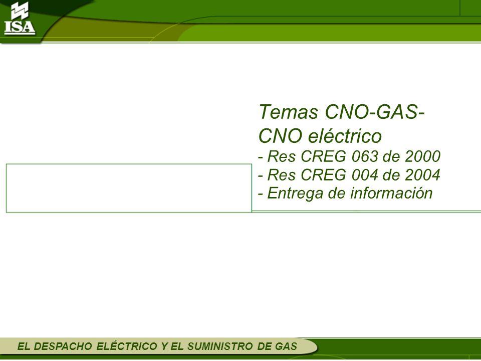Temas CNO-GAS- CNO eléctrico - Res CREG 063 de 2000 - Res CREG 004 de 2004 - Entrega de información