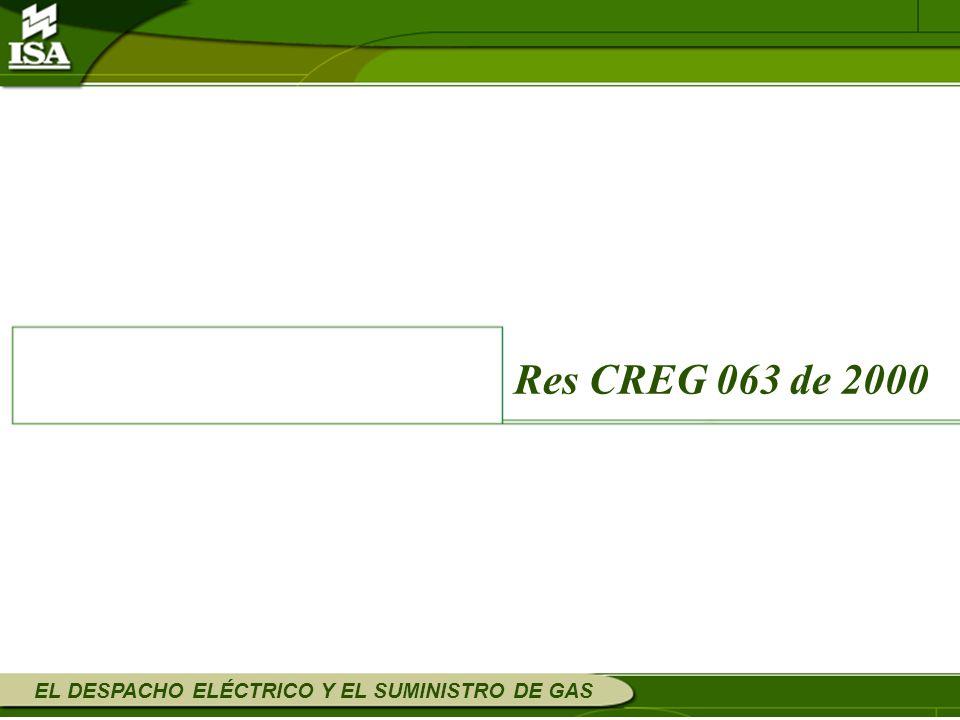 Res CREG 063 de 2000 EL DESPACHO ELÉCTRICO Y EL SUMINISTRO DE GAS