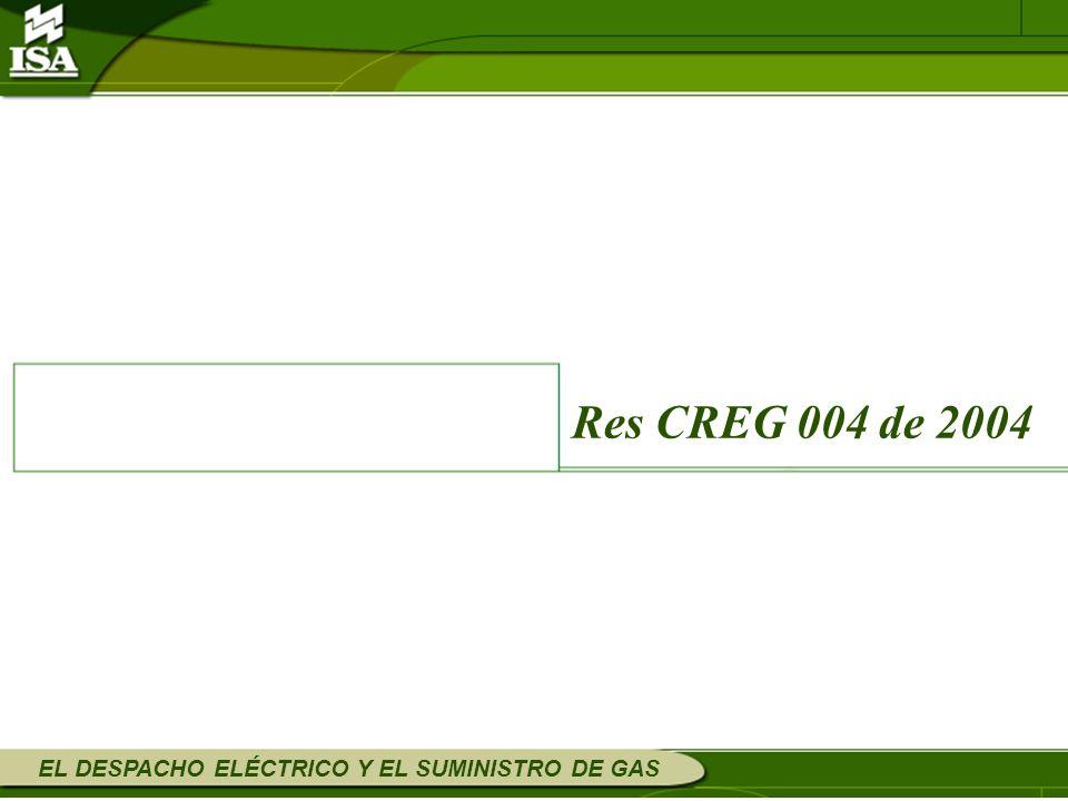 Res CREG 004 de 2004 EL DESPACHO ELÉCTRICO Y EL SUMINISTRO DE GAS