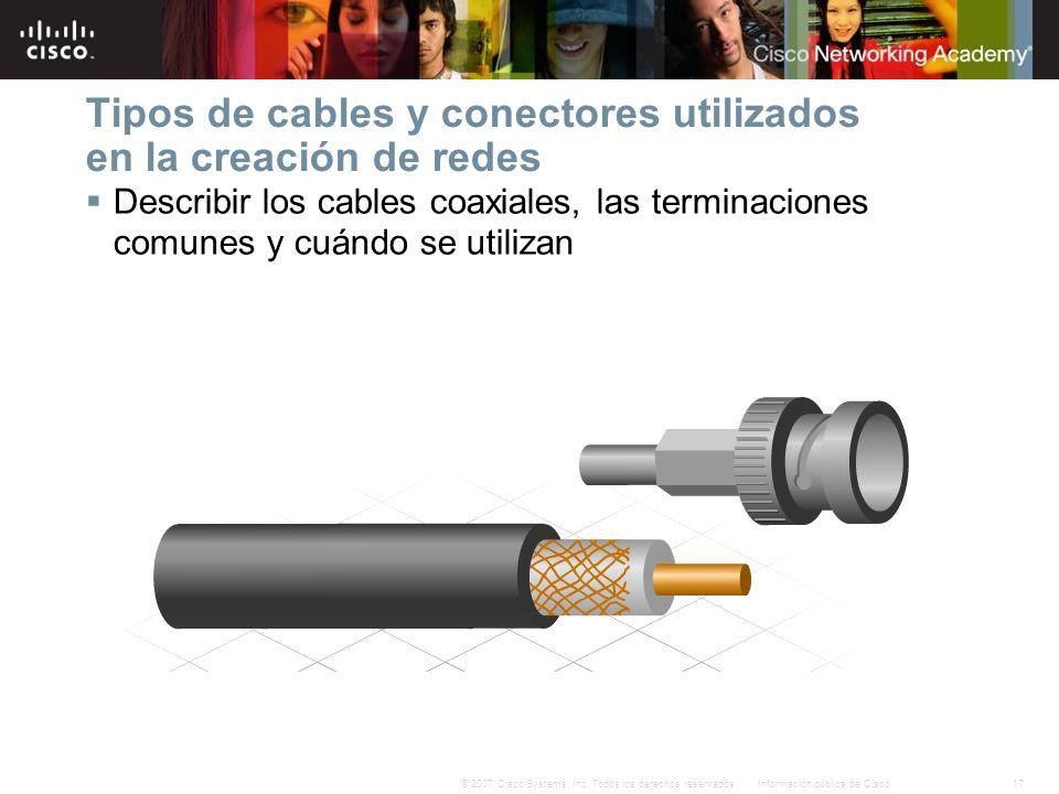 Tipos de cables y conectores utilizados en la creación de redes
