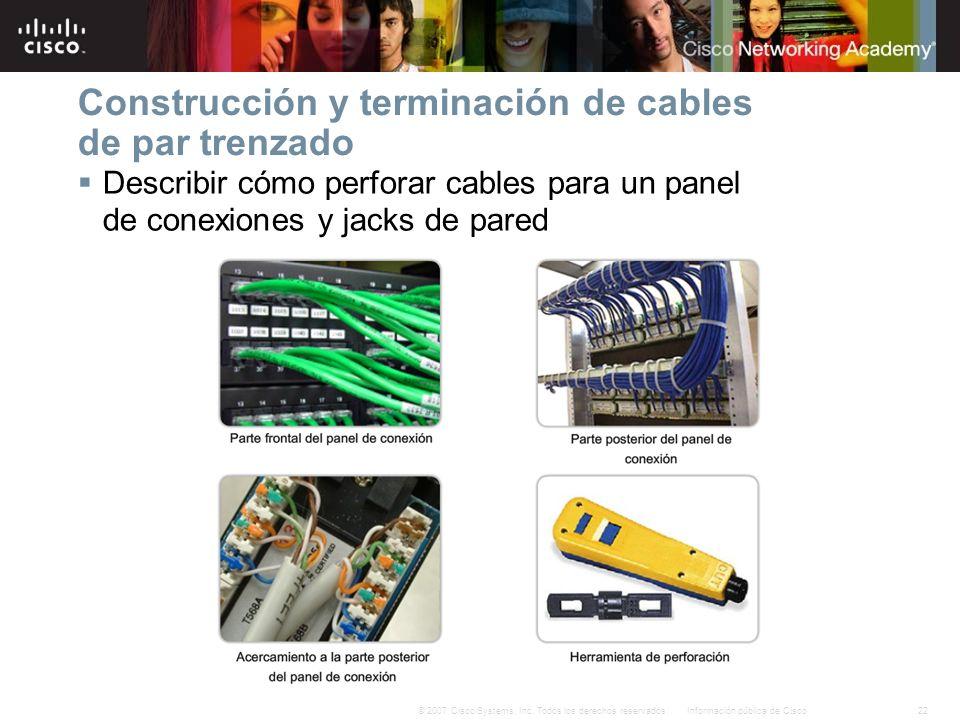 Construcción y terminación de cables de par trenzado