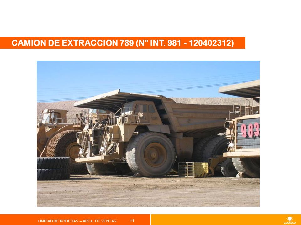 CAMION DE EXTRACCION 789 (N° INT. 981 - 120402312)