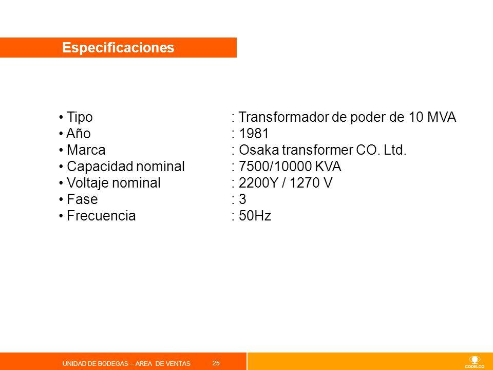 Tipo : Transformador de poder de 10 MVA Año : 1981